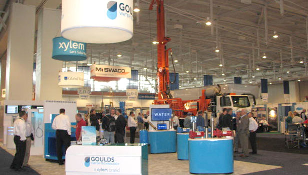 The Xylem brand Goulds Water Technology had a prominent booth right inside the Expo.