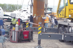 Hydro Resources crews set the surface casing on well 14