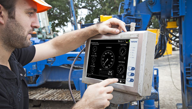 The noax touchscreen systems are resistant to moisture, heat, humidity and drill rig vibration.