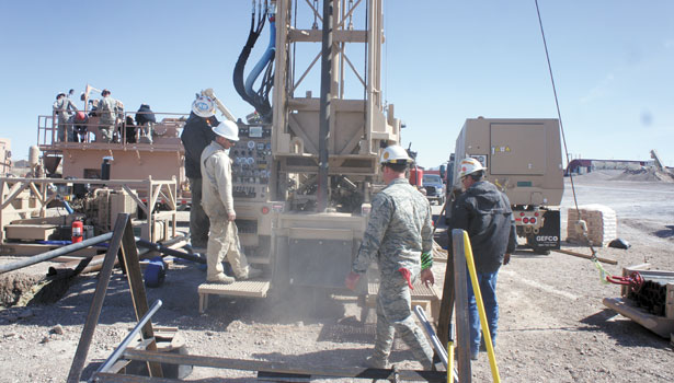 The soldiers are assigned to groups, rotating throughout the day to spend time on the rig, solids control, rig tender and mud lab.
