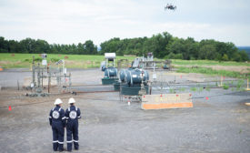 GE workers with drones