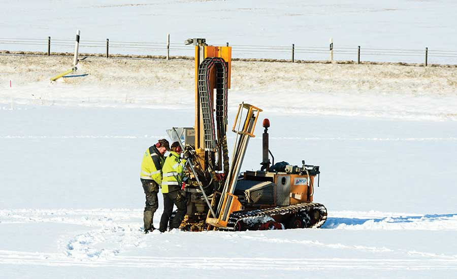 drilling in the snow