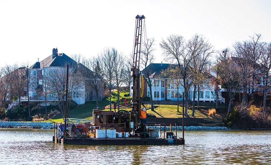 over-water drilling job in Lake St. Louis, Mo.