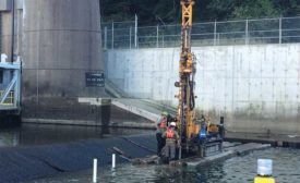 drilling grout curtain at dam