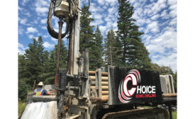 A driller with Toronto's Choice Sonic Drilling working on Oak Island