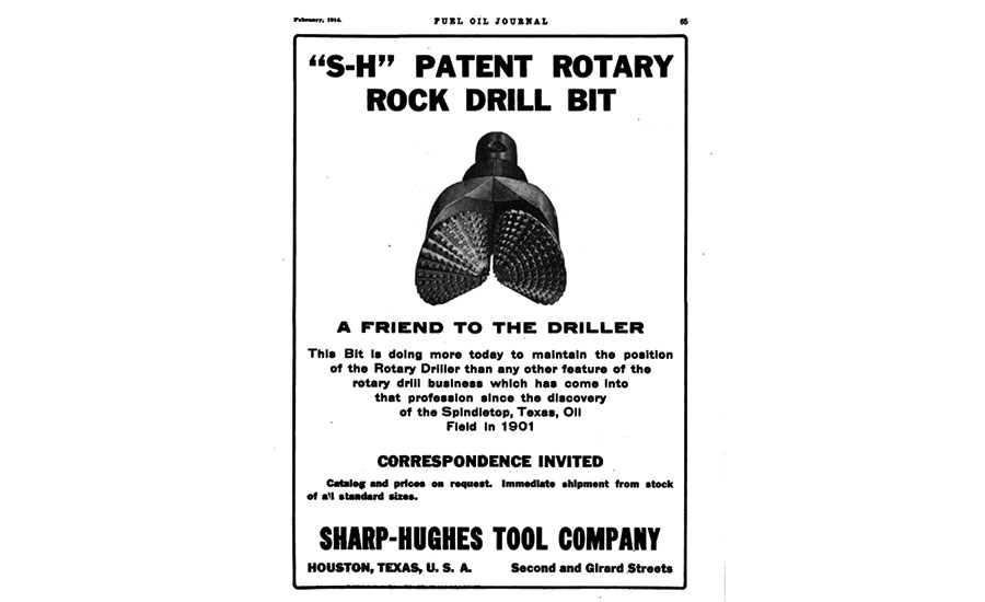 A 1914 ad for bits from the Sharp-Hughes Tool Company