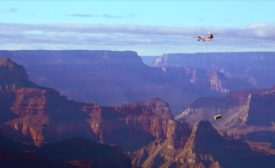 Chinook helicopter flying over the Grand Canyon