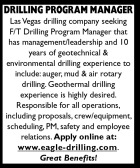 F/T DRILLING PROGRAM MANAGER NEEDED IN LAS VEGAS