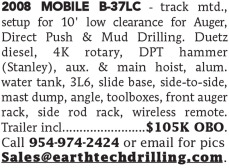 2008 MOBILE B-37LC TRACK MOUNTED FOR AUGER, DIRECT PUSH & MUD DRILLING