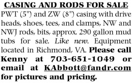 CASING AND RODS FOR SALE