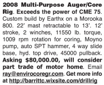 2008 MULTI-PURPOSE AUGER/CORE RIG FOR SALE