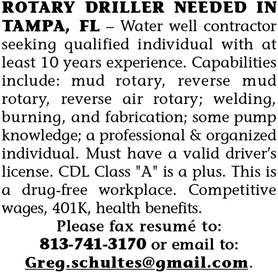 ROTARY DRILLER NEEDED IN TAMPA, FL