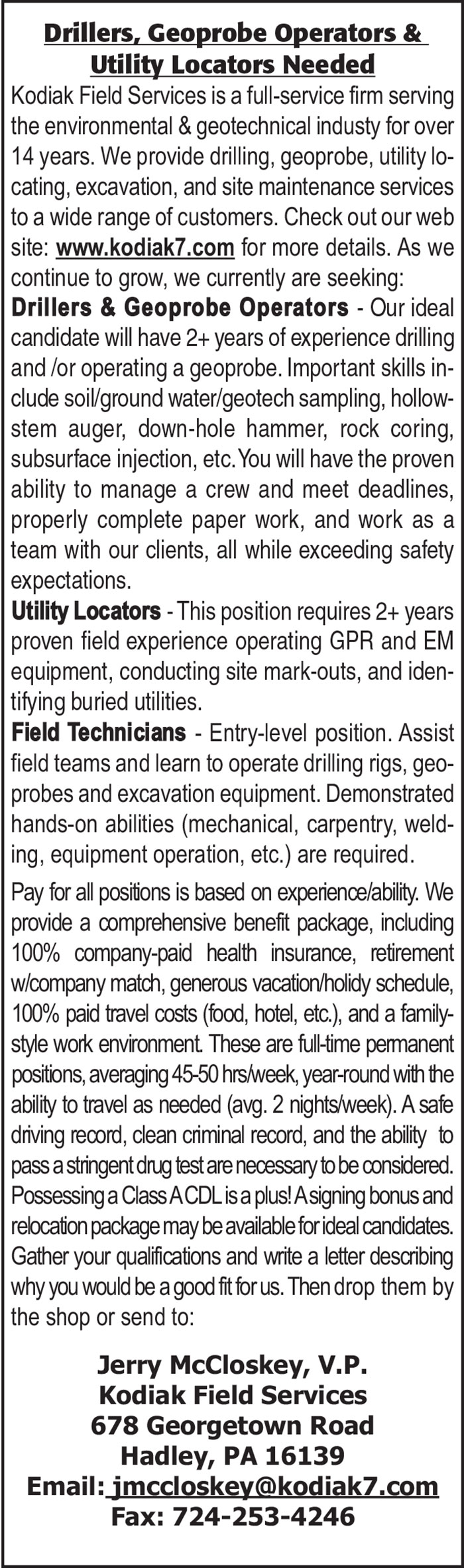 DRILLERS, GEOPROBE OPERATORS & UTILITY LOCATORS NEEDED