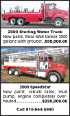 2000 STERLING WATER TRUCK & 2000 SPEEDSTAR