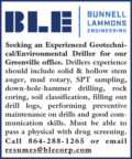 SEEKING EXPERIENCED GEOTECHNICAL/ENVIRONMENTAL DRILLER