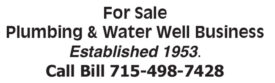 FOR SALE - PLUMBING & WATER WELL BUSINESS