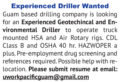 EXPERIENCED DRILLER WANTED - GUAM