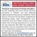 WANTED: EXPERIENCED PUMP INSTALLERS - HAWAII
