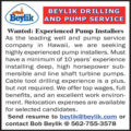 WANTED: EXPERIENCED PUMP INSTALLERS - HAWAII