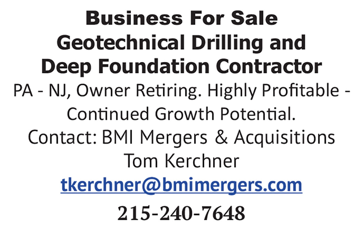 BUSINESS FOR SALE GEOTECHNICAL DRILLING AND DEEP FOUNDATION CONTRACTOR