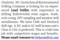 EXPERIENCED LEAD DRILLER WANTED - CHARLOTTE, NC