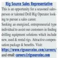 RIG SOURCE SALES REPRESENTATIVE - OPPORTUNITY FOR SEASONED SALESPERSON