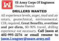 DRILLERS WANTED - AUGER, MUD, AIR ROTARY, GEOTECHNICAL, ENVIRONMENTAL