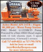 ACKER MODEL APS 16TR - 45 GMP @1,000 PSI - WATER PUMP STATION
