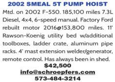 2002 SMEAL 5T PUMP HOIST