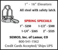 "ELEVATORS: 1"" - 16"" ALL STEEL W/ SAFETY LATCH"