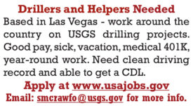 USGS DRILLERS AND HELPERS NEEDED