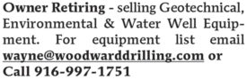 OWNER RETIRING - SELLING GEOTECHNICAL, ENVIRONMENTAL & WATER WELL EQUIPMENT