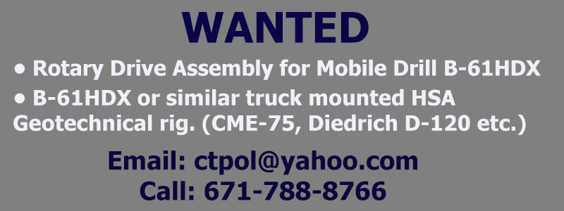 WANTED DRILL RIG AND OR DRILL RIG PARTS