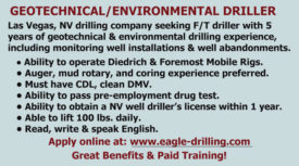 SEEKING GEOTECHNICAL/ENVIRONMENTAL DRILLER - NEVADA