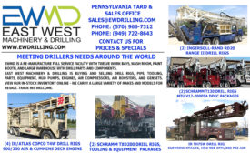 EAST WEST MACHINERY & DRILLING IS BUYING & SELLING DRILL RIGS, PIPE, TOOLING, PARTS, EQUIPMENT, MUD PUMPS, ENGINES, AIR COMPRESSORS, AIR BOOSTERS, & GENSETS