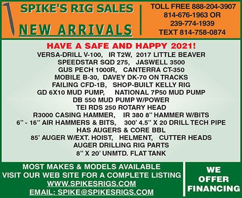 SPIKE'S RIG SALES NEW ARRIVALS - JANUARY 2021