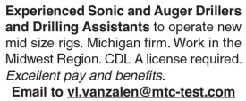 Experienced Sonic, Auger Drillers and Drilling Assistants Needed