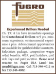 EXPERIENCED DRILLERS NEEDED - GEOTECHNICAL DRILLERS