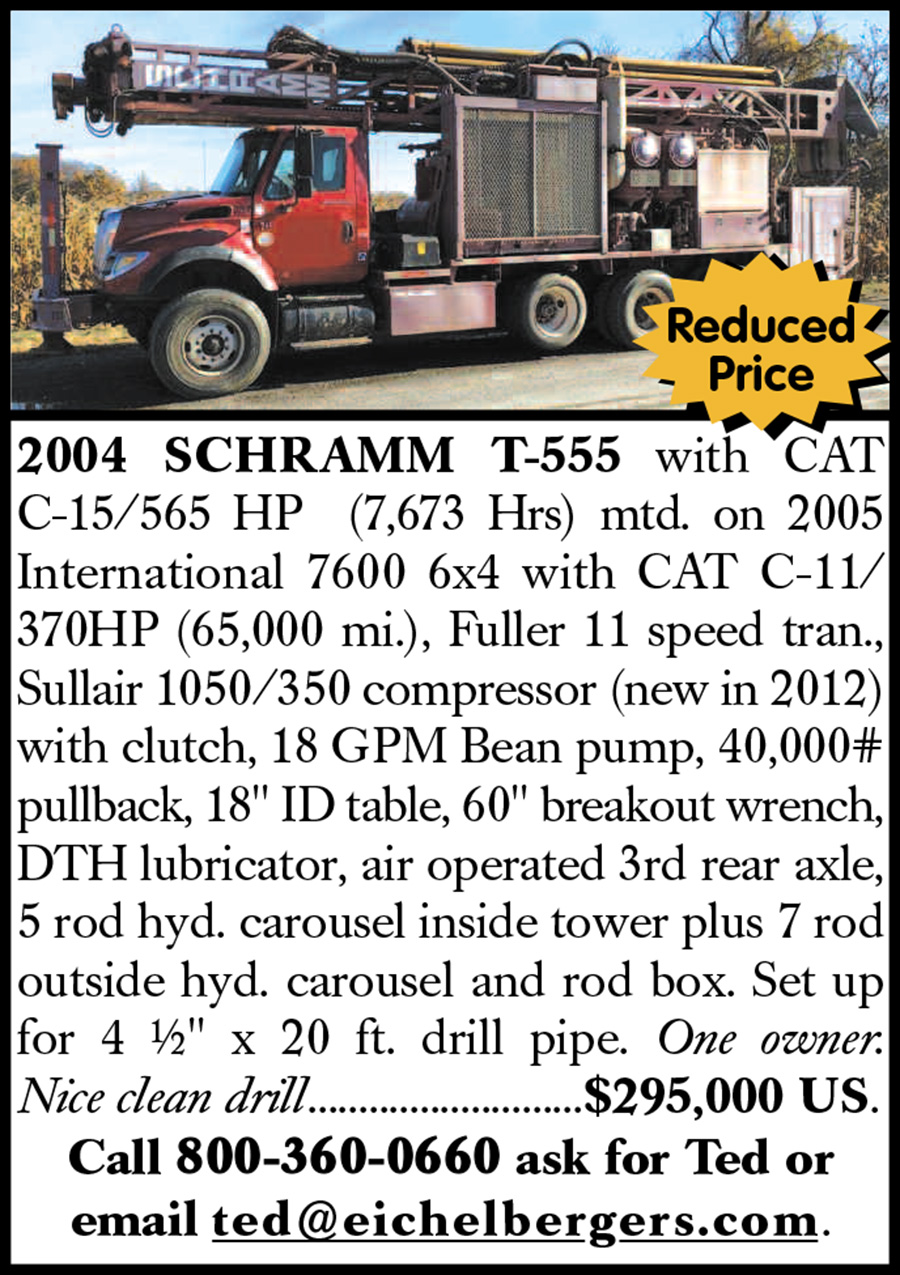 **REDUCED PRICE** 2004 SCHRAMM T-555 DRILL RIG **REDUCED PRICE**