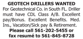 GEOTECH DRILLERS WANTED - SOUTH FL