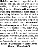 SEEKING FOR DRILLING INDUSTRY: BUSINESS DEVELOPMENT/MARKETING PROFESSIONAL AND OPERATIONS/PROJECT MANAGER