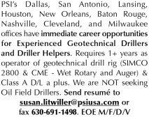 EXPERIENCED GEOTECHNICAL DRILLERS & DRILLER HELPERS NEEDED