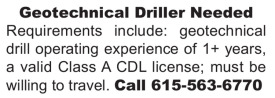 GEOTECHNICAL DRILLER NEEDED