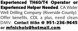 EXPERIENCED TH60/T4 OPERATOR OR EXPERIENCED HELPER NEEDED