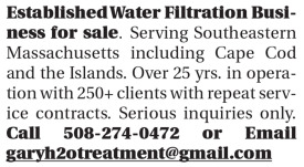 ESTABLISHED WATER FILTRATION BUSINESS FOR SALE